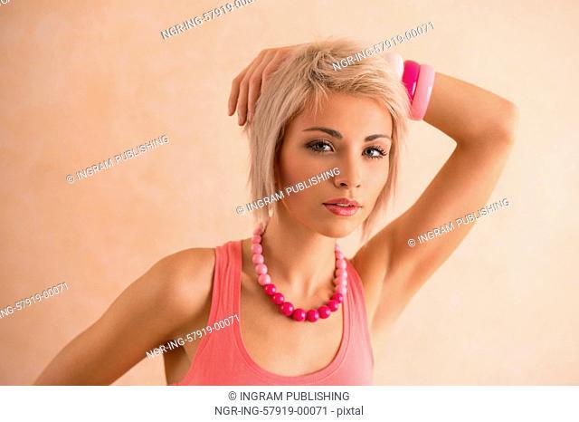 Elegant blonde beauty posing
