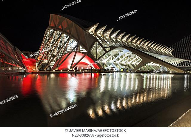 Prince Felipe Museum illuminated in the city of arts and sciences, behind the Torre de Francia building, Valencia, Spain