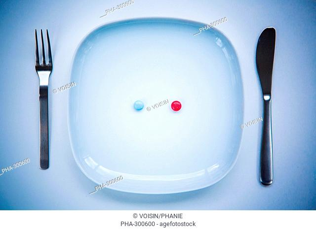 Capsules an pills in a plate