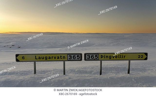 Lonely country road during sunrise in the snowy mountains of Iceland. europe, northern europe, iceland, February