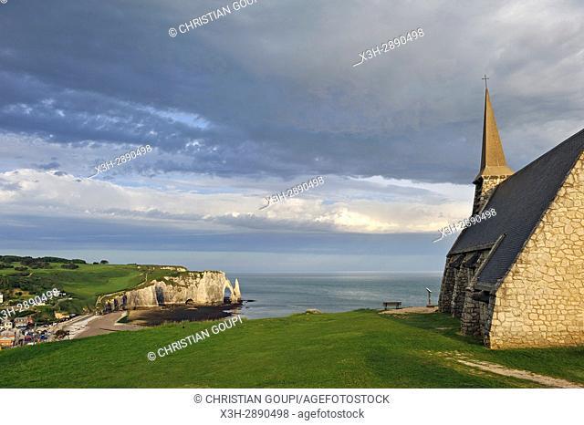 Notre-Dame de la Garde Chapel on the top of cliff, Etretat, Seine-Maritime department, Normandie region, France, Europe