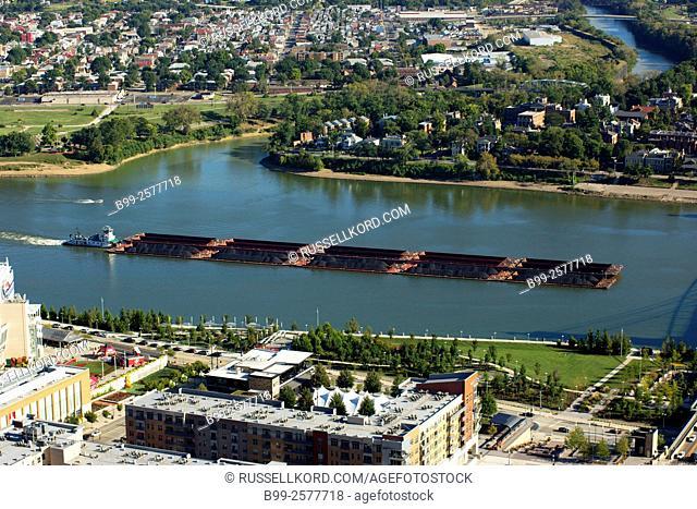 Coal Barges Ohio River Covington Kentucky Usa