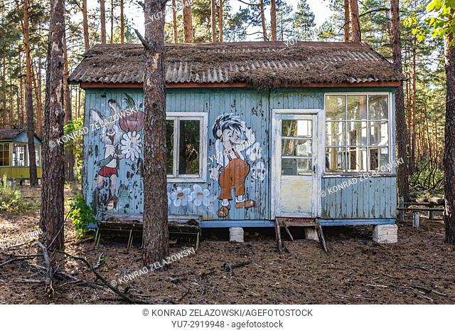 """Russian cartoon characters drawed on a summer house in """"""""Emerald"""""""" recreation base in Chernobyl Nuclear Power Plant Zone of Alienation, Ukraine"""