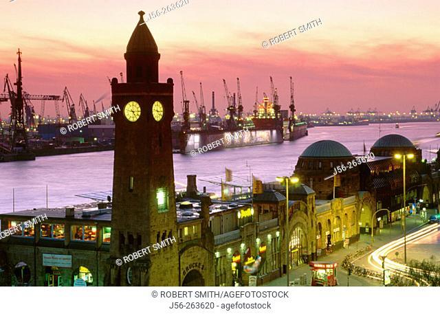 Elbe River at night. Port of Hamburg. Germany