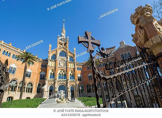 Spain, Catalonia, Barcelona City,St. Pau Hospital (St. Paul), Unesco site, Main Entrance, Domenech i Montaner Architect