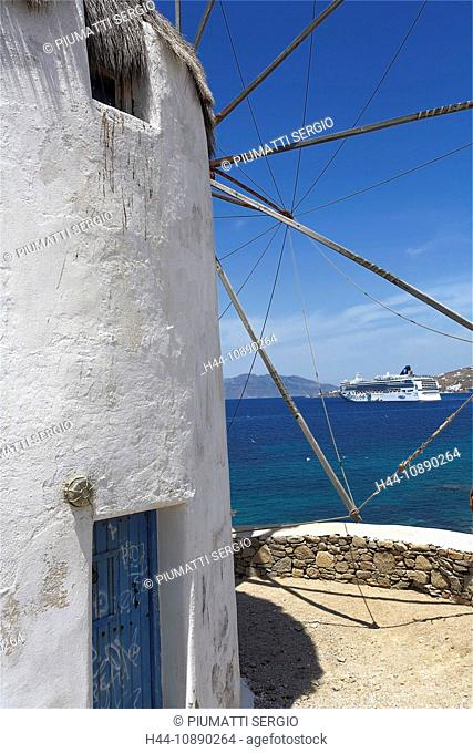 Europe, Greece, Greek Islands, Mykonos, aegean mediterranean, Cyclades Hora, white, painted, stucco, houses, architecture, view, landscape, sea, windmills, NCL