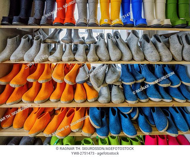 Colorful boots and slippers for sale, Lapland, Finland