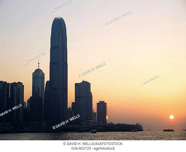 Skyline of Victoria Island city center in Hong Kong, China