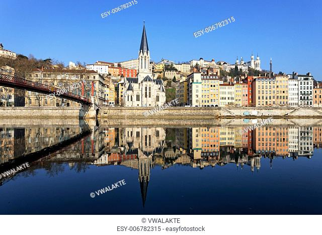 horizontal view of Lyon and Saone River in France