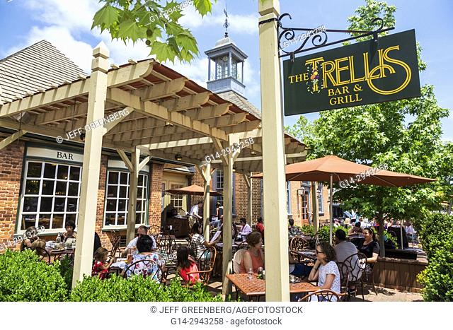 Virginia, Colonial Williamsburg, The Trellis Bar & Grill, restaurant, dining, alfresco, outside, tables, umbrellas