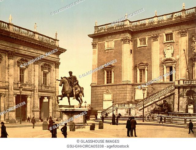 The Capitoline, the Piazza, Rome, Italy, Photochrome Print, Detroit Publishing Company, 1900