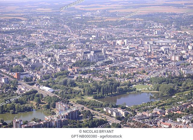 AERIAL VIEW OF ABBEVILLE AND THE ABBEY CHURCH, SOMME, PICARDY, FRANCE