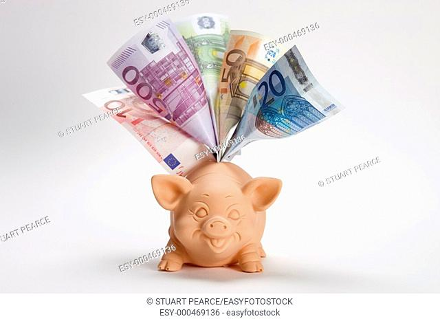 Euro Currency in a piggybank