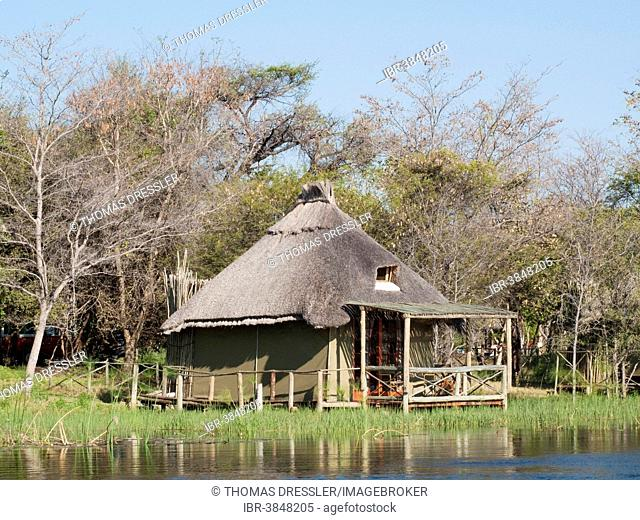 The so-called Island Tents accomodation at the Camp Kwando, built on poles right at the river bank of the Kwando River, Caprivi region, Namibia