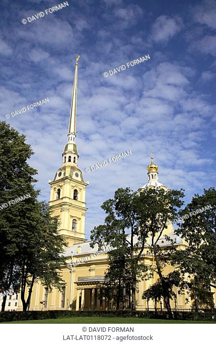 The Peter and Paul Fortress Petropavlovskaya Krepost is the original citadel founded by Peter the Great in 1703 in his city of St Petersburg