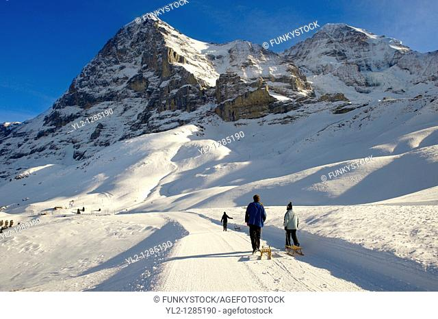 Kleiner Scheidegg in winter looking at The North Face Of the Eiger   Swiss Alps, Switzerland