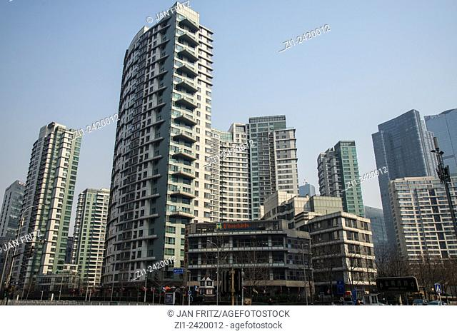 high apartments buildings in downtown beijing china