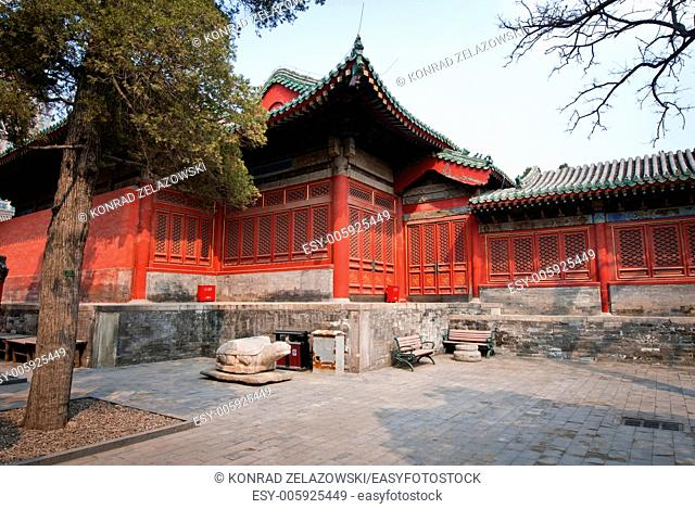 Wooden pavilion in Dongyue Temple, Chaoyang District in Beijing, China