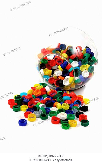 plastic caps in the glass sphere