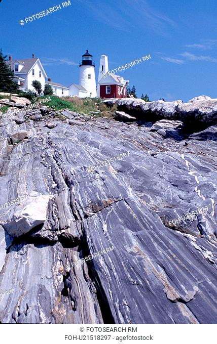 lighthouse, Pemaquid Point, Maine, ME, Bristol, Pemaquid Head Light along the rocky coast of the Atlantic Ocean