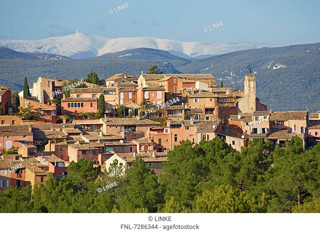 Roussillon with Mont Ventoux in background, Provence, France
