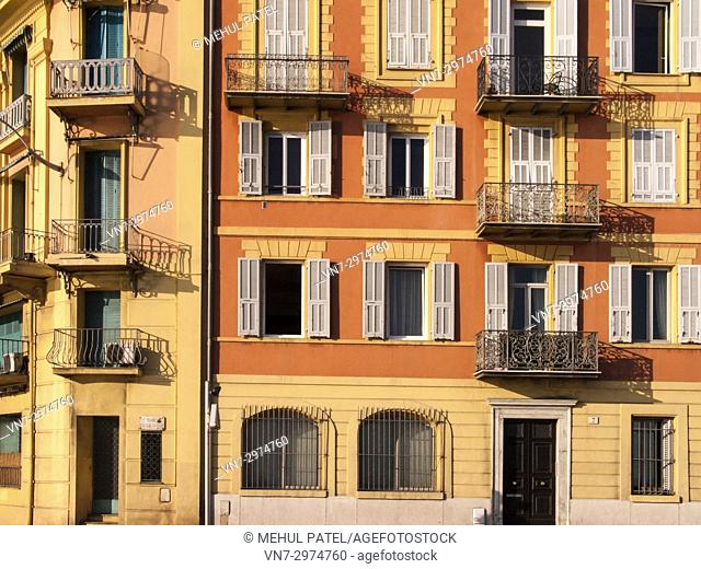 Colourful exterior of buildings, Nice, Cote d'Azur, France, Europe