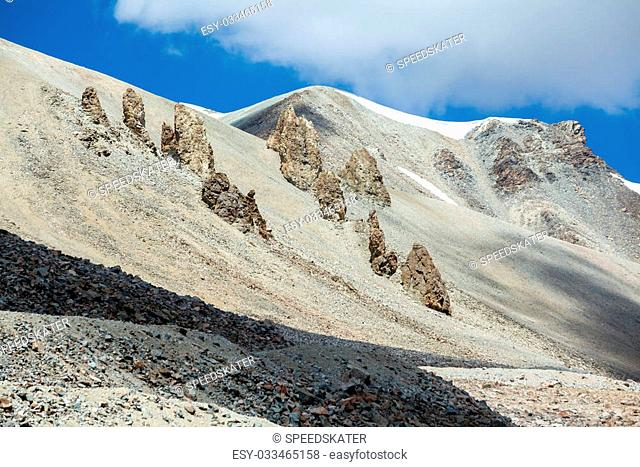 Sharp bald rocks in Tien Shan mountain range. Kyrgyzstan