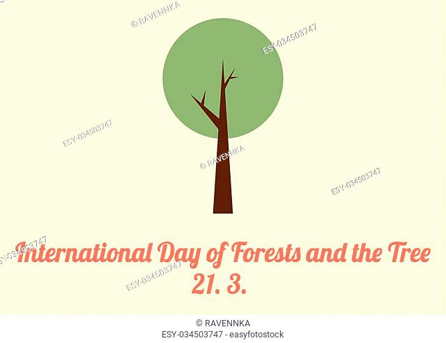 International day of Forests and the Tree card in vitange colors and flat style