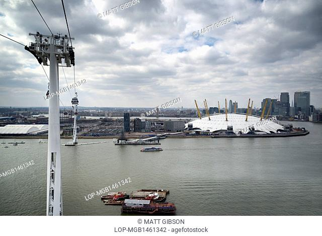 England, London, Greenwich. Aerial view of the O2 and the Greenwich Peninsula from an Emirates Air Line cable car