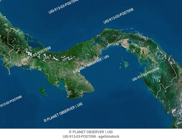 Satellite view of Panama (with country boundaries). This image was compiled from data acquired by Landsat satellites