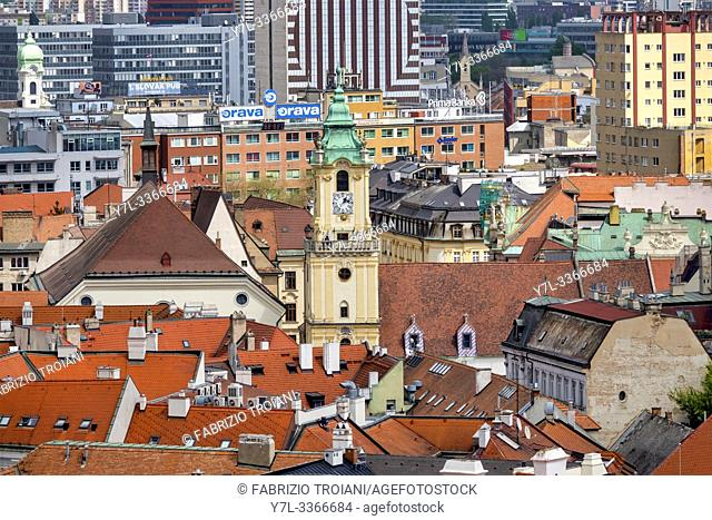 Old town hall tower and surrounding rooftops, . Bratislava, Slovakia