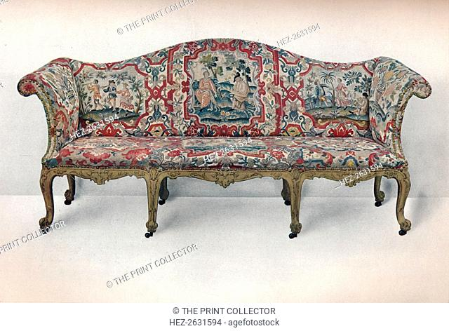 'Long Upholstered Sofa: Serpentine-Shaped, Carved and Gilt', c1750. Artist: Unknown