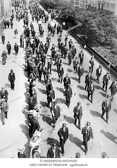 New York, New York: 1916 Part of the huge parade of over 10,000 striking streetcar men as they passed down Park Avenue on their to a mass meeting in Union...