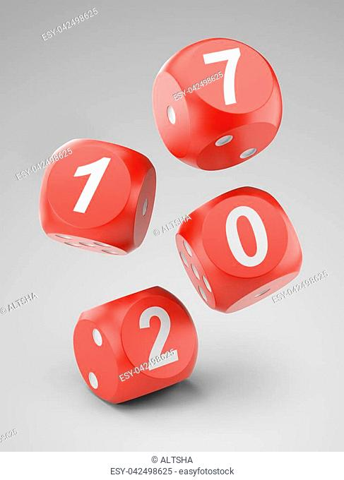 3d fly red game dices with 2017 sign. Illustration isolated on a white background