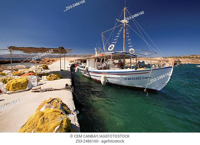 Fishing boats moored at the harbor, Koufonissi, Cyclades Islands, Greek Islands, Greece, Europe