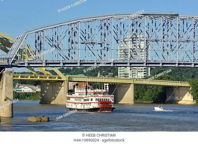 Ohio River, Bridge, Downtown Cincinnati, Ohio, steel, construction, Newport, Kentucky, USA, United States, America, ship, boat