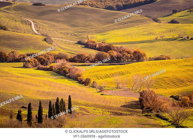 San Quirico d'Orcia, Tuscany, Italy. Sunlight over the hills