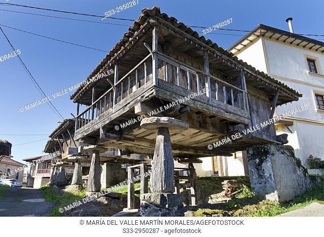 Horreos in the village of Siete. Asturias. Spain