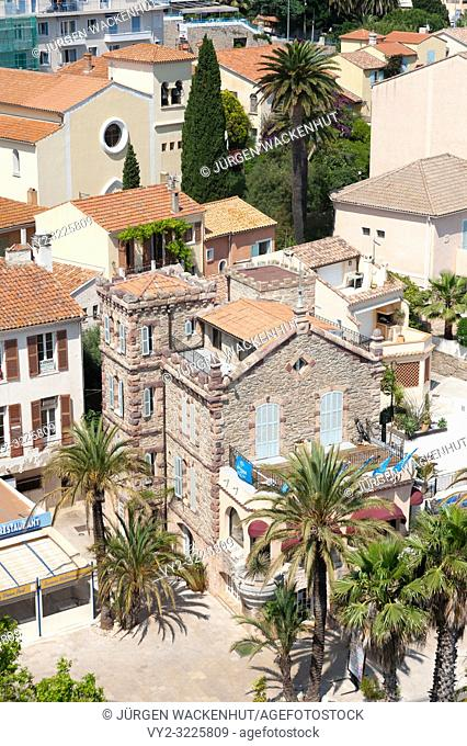 Cityscape with the building of tourist office, Le Lavandou, Var, Provence-Alpes-Cote d`Azur, France, Europe