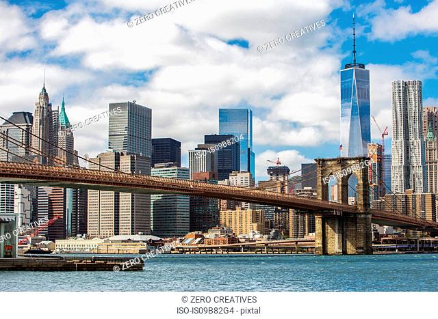 View of New York skyline with Brooklyn Bridge, New York City, New York, USA