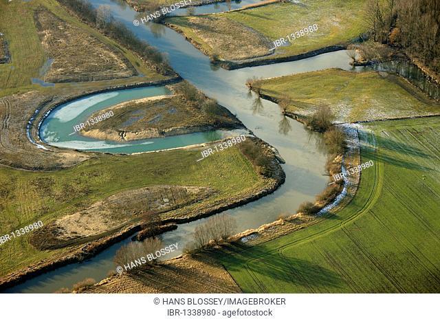 Aerial photo, renaturation of the Lippe river between Schloss Heessen castle and the Kraftwerk Westfalen power plant, Lippe river bend, Hamm, Ruhrgebiet region