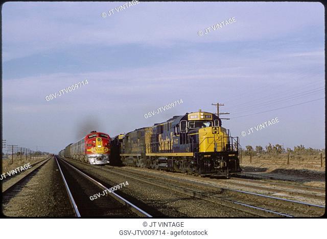Santa Fe Freight and Diesel Trains, Hesperia, California, USA, 1964
