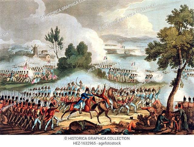 'The Left Wing of the British army in Action at the Battle of Waterloo, June 18th 1815'. The Battle of Waterloo was the decisive defeat for Napoleon and marked...