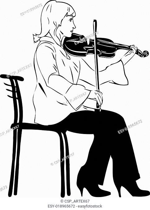 blonde violinist playing while sitting on