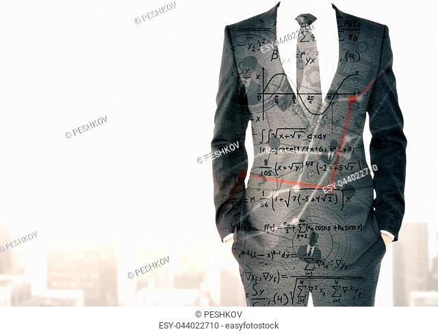 Businessman on abstract city background with copyspace and mathematical formulas. Success and science concept. Double exposure