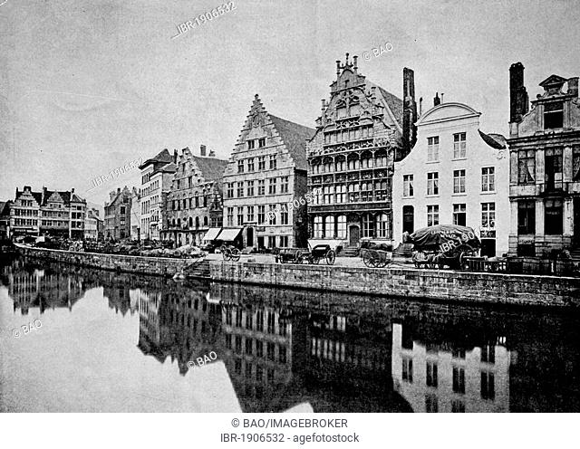 One of the first halftones, cityscape of Ghent, Holland, 1880