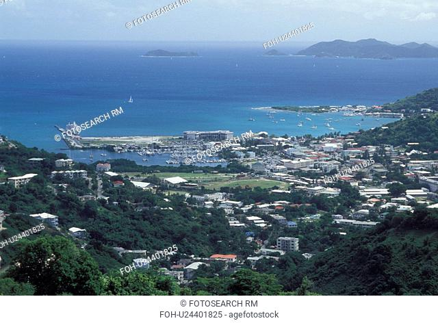 Tortola, Road Town, British Virgin Islands, Road Bay, Caribbean, BVI, Scenic view of Road Town on the island of Tortola on the Caribbean Sea
