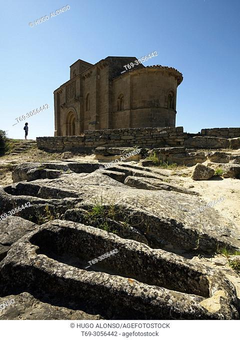 The archaeological site of the necropolis and the 12th Century Romanesque church of Santa Maria de la Piscina. Peciña. San Vicente de La Sonsierra