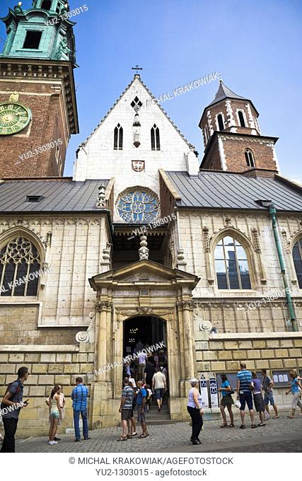 Entrance to Wawel Cathedral on Wawel Castle in Krakow, Poland