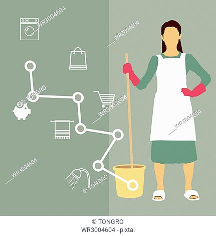 Housewife with cleaning tools posing in Infographic illustration